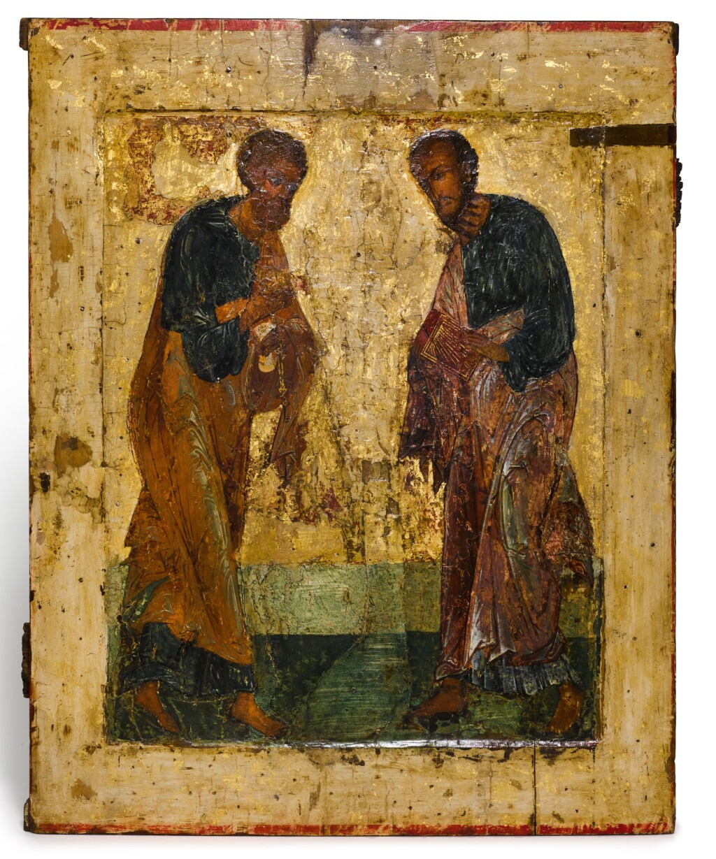 AN ICON OF SAINTS PETER AND PAUL, RUSSIAN SCHOOL, NOVGOROD, LATE 15TH CENTURY