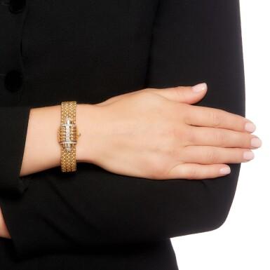 View 5. Thumbnail of Lot 73. Eska   Diamond watch/bracelet, 1950s.