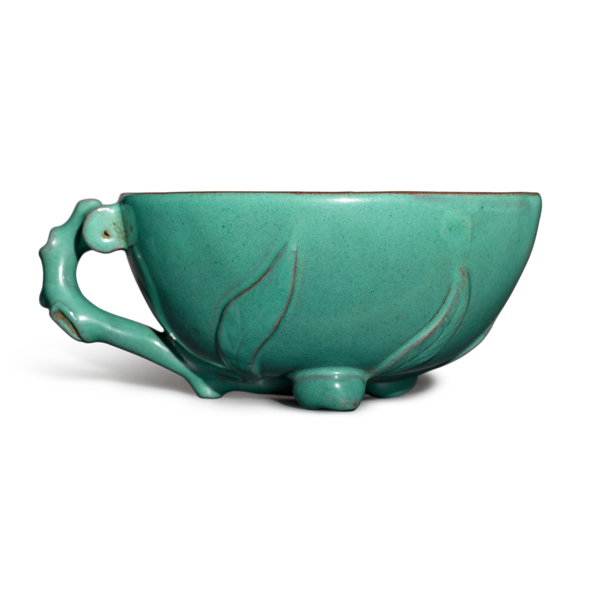 View full screen - View 1 of Lot 26. A Yixing turquoise-enameled 'peach' cup, 19th / 20th century.