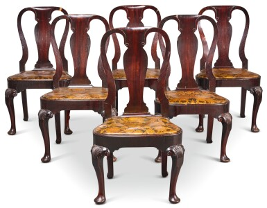 View 1. Thumbnail of Lot 227. A SET OF SIX GEORGE II WALNUT SIDE CHAIRS, CIRCA 1730.