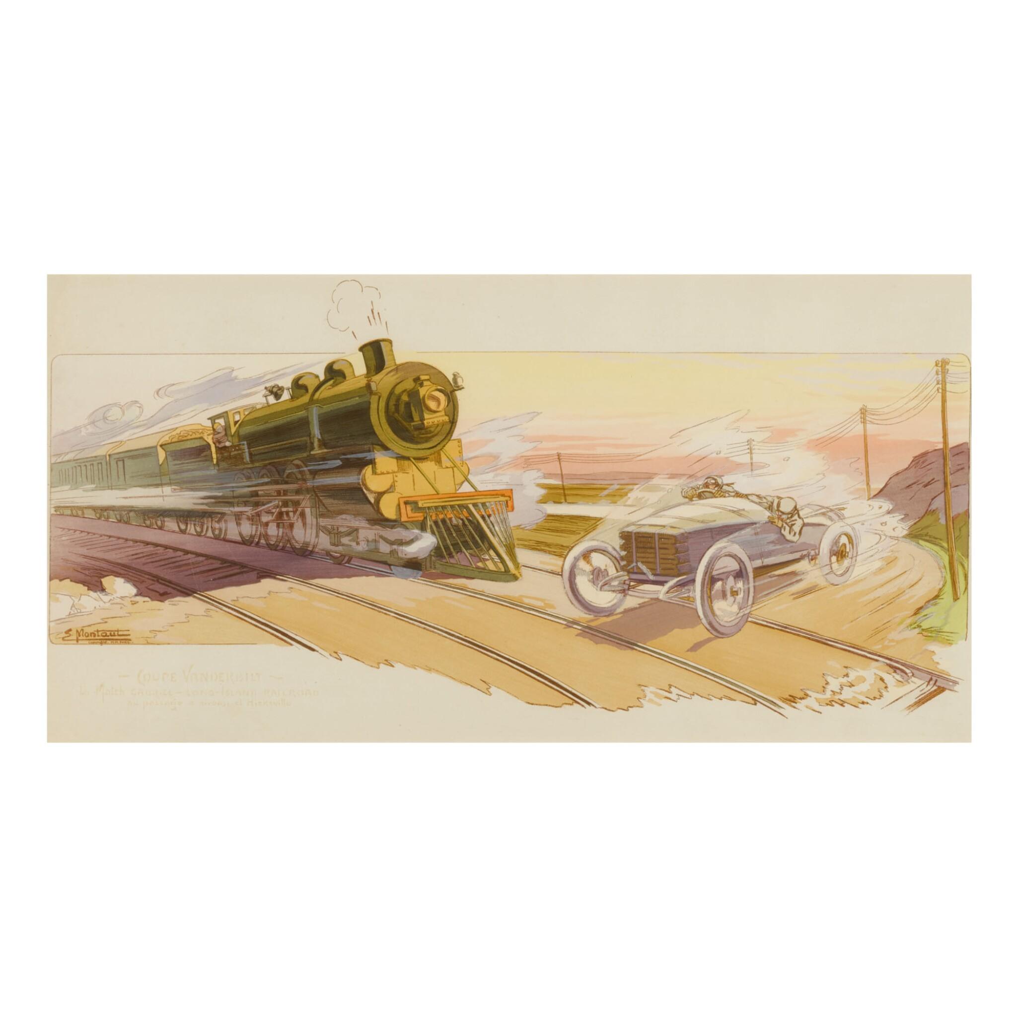 View full screen - View 1 of Lot 1761. GAMY-MONTAUT   COUPE VANDERBILT / LE MATCH GABRIEL–LONG-ISLAND RAILROAD, AU PASSAGE A NIVEAU D'HICKSVILLE, [AND:] GRAND PRIX D'AMERIQUE, GOUX LE GAGNANT SUR PEUGEOT À INDIANAPOLIS (INDIANAPOLIS 500), 1911.