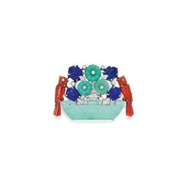 View 1. Thumbnail of Lot 209. Cartier | Turquoise, Lapis Lazuli, Carnelian and Diamond Brooch.