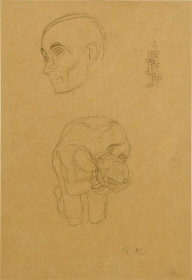 View 1. Thumbnail of Lot 62. Kopf des Wohlgerusteten Starken Ornament und verweifelter, kiender, nackter Mann (Head of well-armored, strong man, ornament and desperate, kneeling, naked man).