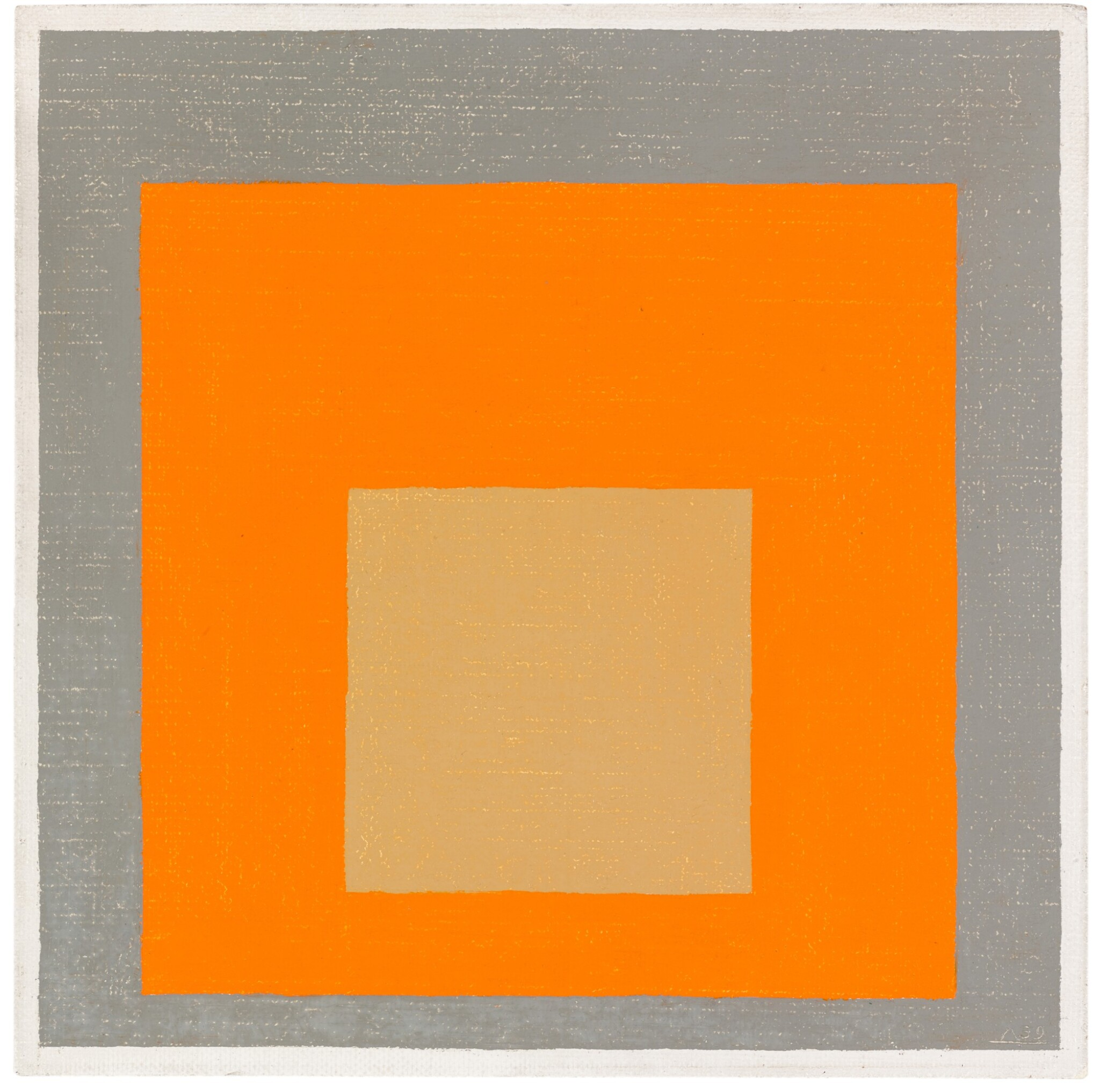 STUDY TO HOMAGE TO THE SQUARE: REDDISH IN ORANGE WITH GRAY