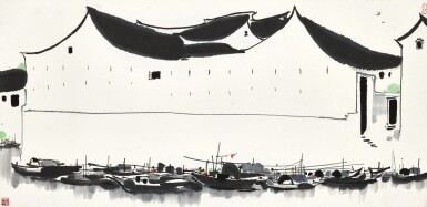 View 1. Thumbnail of Lot 2621.  Wu Guanzhong 吳冠中   Residence by the Dock 泊岸.