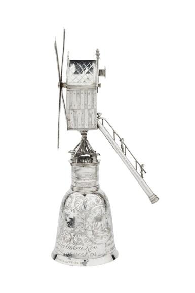 View 4. Thumbnail of Lot 1. A Dutch silver windmill cup, unknown maker's mark, Zierikzee, 1724-1732 | Coupe en forme de moulin à vent en argent, Zierikzee, 1724-1732.