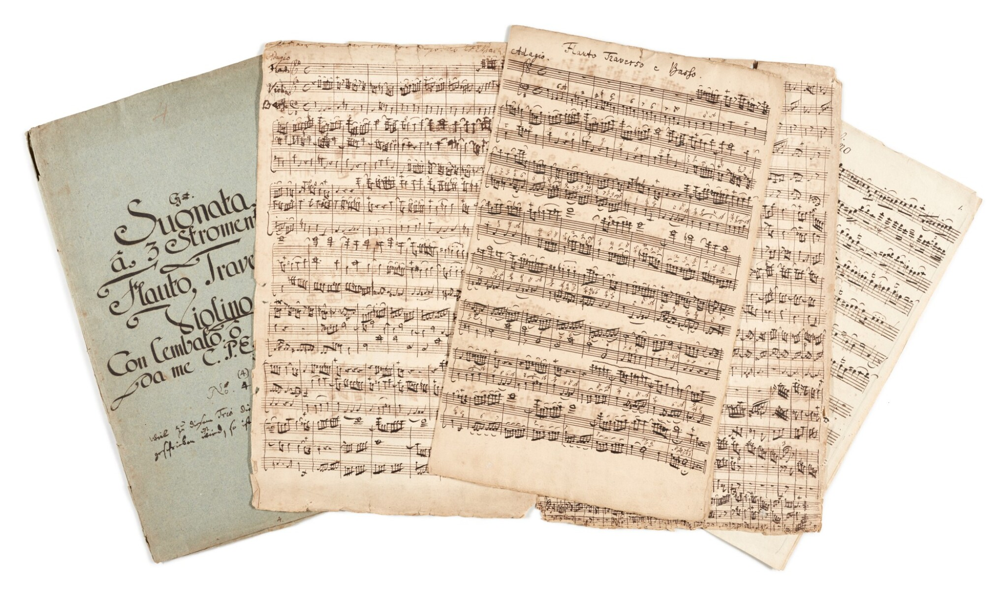View full screen - View 1 of Lot 2. C. P. E. Bach. Autograph score and parts of the Trio in G major for flute, violin and continuo, Wq. 144, 1747.