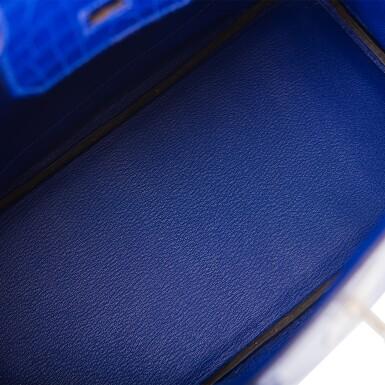 View 8. Thumbnail of Lot 7. Hermès Bleu Electrique Birkin 30cm of Shiny Porosus Crocodile with Palladium Hardware.