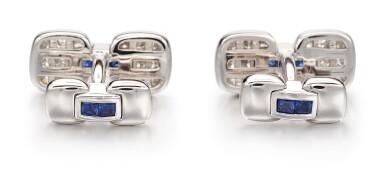 View 3. Thumbnail of Lot 1106. Pair of Sapphire and Diamond Cufflinks   格拉夫  藍寶石 配 鑽石 袖扣一對 (藍寶石及鑽石共重約1.10及3.30克拉).