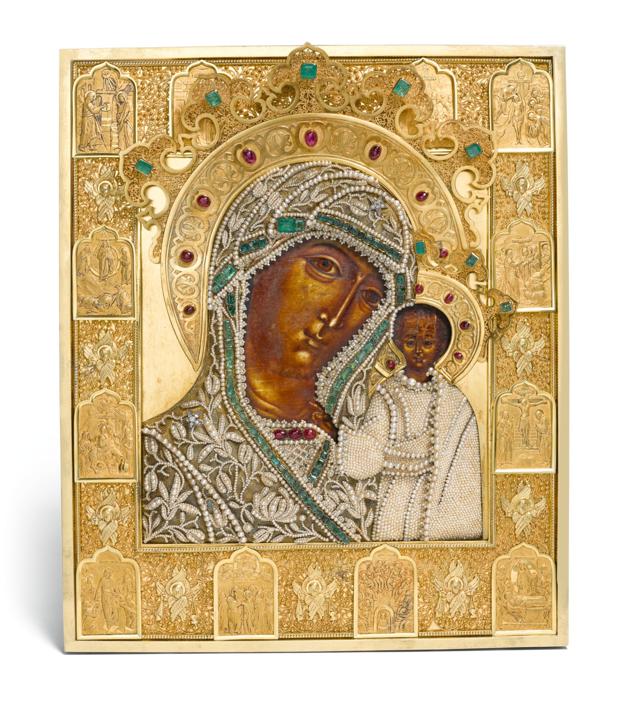 View full screen - View 1 of Lot 244. A rare jewelled and pearl-set silver-gilt icon of the Kazanskaya Mother of God, maker's mark Karl Sievers, retailed by Sazikov, St Petersburg, 1864.