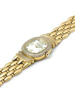 PATEK PHILIPPE   REF 4831/11 GOLDEN ELLIPSE,  A YELLOW GOLD AND DIAMOND SET BRACELET WATCH WITH MOTHER OF PEARL AND SAPPHIRE SET DIAL MADE IN 1997