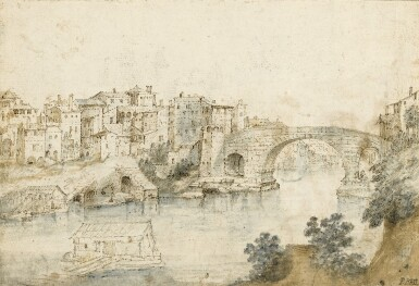 View 1. Thumbnail of Lot 19. Recto: View Along the Tiber Verso: Sketch of a Rocky Grotto with Ruins    .