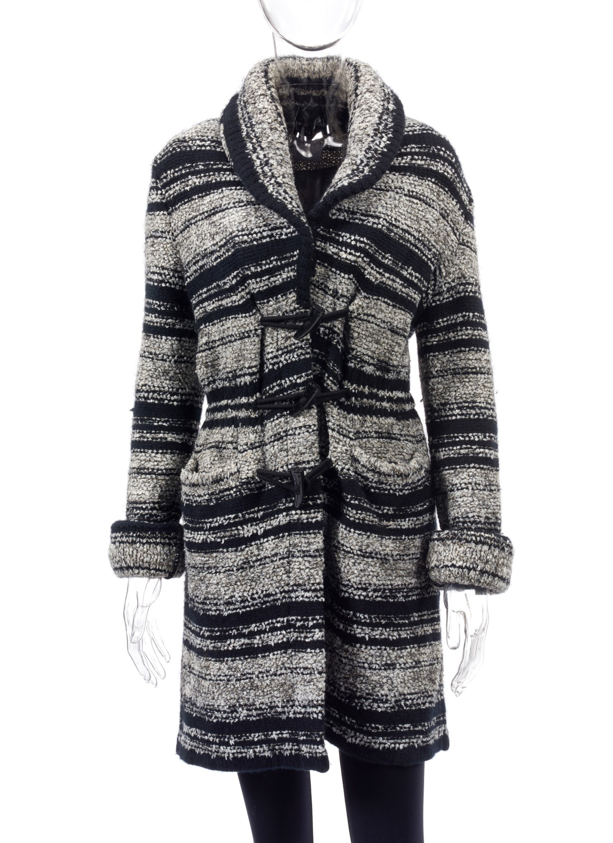 BLACK AND GREY METALLIC CACHEMIRE-BLEND COAT, CHANEL