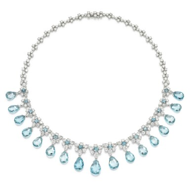 View 1. Thumbnail of Lot 290. MICHELE DELLA VALLE | AQUAMARINE AND DIAMOND NECKLACE.