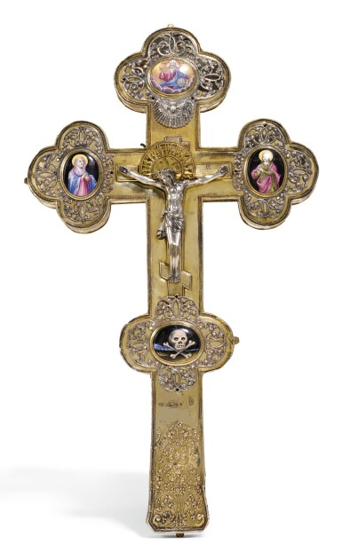 View 1. Thumbnail of Lot 506. A SILVER-GILT AND PICTORIAL ENAMEL CRUCIFIX, MOSCOW, 1734.