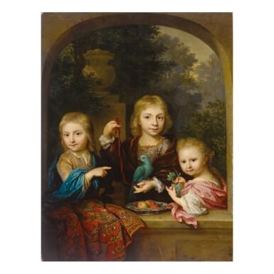 View 1. Thumbnail of Lot 50. ARNOLD BOONEN | PORTRAIT OF THE GEELVINCK CHILDREN: NICOLAAS (1706-1764), CORNELIS (1705 - ?) AND CATHARINA JACOBA GEELVINCK (1710-1759).