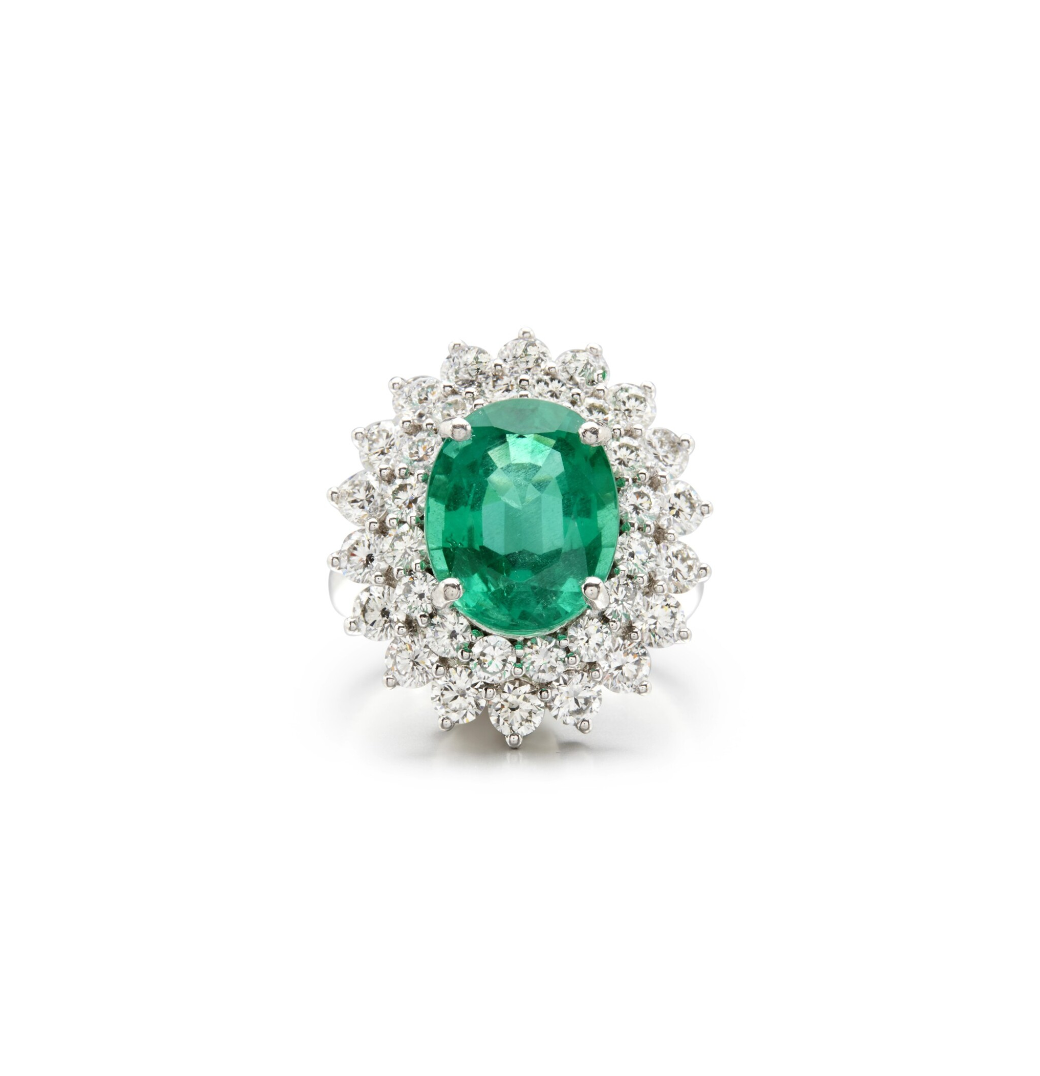 View full screen - View 1 of Lot 4. EMERALD AND DIAMOND RING.