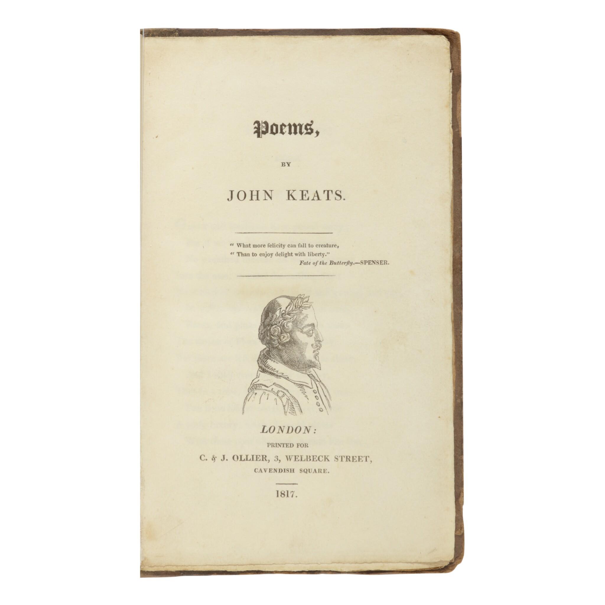 View full screen - View 1 of Lot 199. KEATS, JOHN | Poems. London: C. & J. Ollier, 1817.