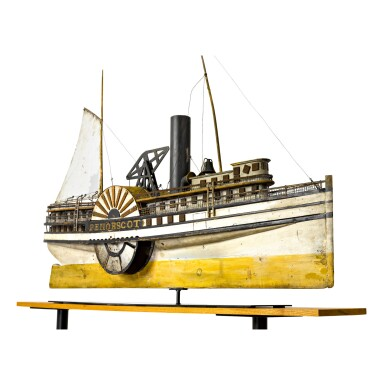 VERY FINE AND RARE CARVED AND POLYCHROME PAINT-DECORATED WOOD, TIN AND METAL SIDEWHEELER 'PENOBSCOT' WEATHERVANE, PROBABLY EXECUTED IN MAINE, CIRCA 1890