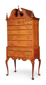 Fine and Rare Queen Anne Carved Cherrywood and Mahogany Bonnet-Top High Chest of Drawers, Hartford Area, Connecticut, circa 1760
