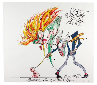 """SCARFE   Pink Floyd's """"The Wall"""" - Teacher, Wife and Pink (""""Another brick in the wall""""), original drawing"""