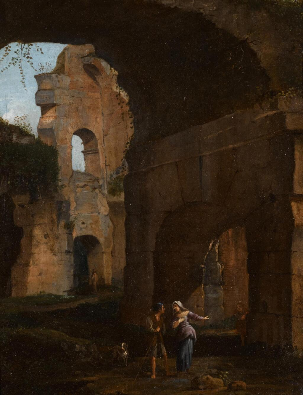 ROMAN SCHOOL, 17TH CENTURY | Classical ruins with figures conversing in the foreground