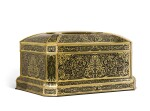 A LARGE NAPOLEON III EBONY AND BRASS MARQUETRY CASKET, MAISON VERVELLE, CIRCA 1850
