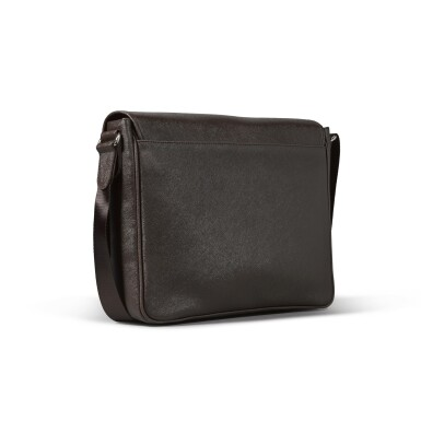 View 3. Thumbnail of Lot 722. BROWN FAUX LEATHER MESSENGER BAG.