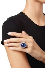 STAR SAPPHIRE AND DIAMOND RING, RUSER