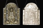 A HIGHLY IMPORTANT PARCEL-GILT SILVER AND ENAMEL TORAH SHIELD, SIGNED AND DATED IN HEBREW ELIMELEKH TZOREF OF STANISLAV, 1782
