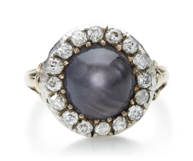 View 1. Thumbnail of Lot 1048. STAR SAPPHIRE AND DIAMOND RING, LATE 19TH CENTURY.