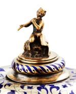 A SILVER-GILT, BLUE ENAMEL, COLOURED GLASSES AND PEARLS COVERED CUP, BY FOSSIN ET FILS, PARIS, CIRCA 1840 | COUPE COUVERTE EN VERMEIL, ÉMAIL BLEU, SERTIE DE VERRERIE ET PERLES, PAR FOSSIN ET FILS, PARIS, VERS 1840