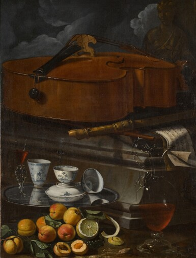View 1. Thumbnail of Lot 54. CRISTOFORO MUNARI  |  STILL LIFE WITH PORCELAIN CUPS AND A FAÇON DE VENISE GLASS ON A SALVER, WITH A GLASS WINE EWER, PEELED LEMON AND APRICOTS, BEFORE A PLINTH WITH A VIOLONCELLO, RECORDER, AND MUSICAL SCORES.