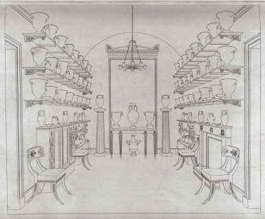 View 6. Thumbnail of Lot 158. A set of twelve Regency mahogany and ebony 'Klismos' dining chairs, circa 1815, after a design by Thomas Hope.