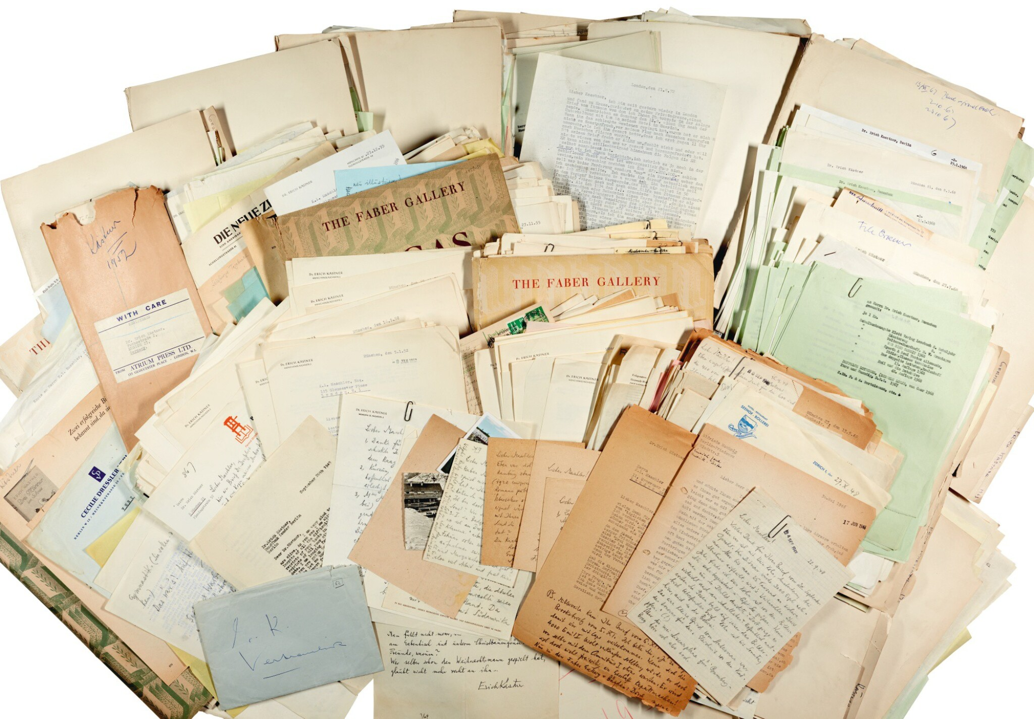 View 1 of Lot 27. E. Kästner. Highly important archive of correspondence to and from his publisher Kurt Maschler, 1945-1972.