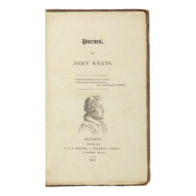 View 1. Thumbnail of Lot 199. KEATS, JOHN | Poems. London: C. & J. Ollier, 1817.