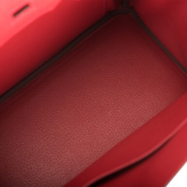 View 8. Thumbnail of Lot 21. HERMÈS   ROUGE VIF BIRKIN 25CM OF TOGO LEATHER WITH GOLD HARDWARE.