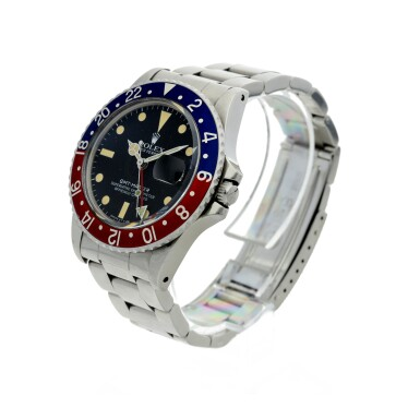 View 2. Thumbnail of Lot 109. ROLEX   REFERENCE 16750 GMT-MASTER 'PEPSI' A STAINLESS STEEL AUTOMATIC DUAL TIME WRISTWATCH WITH DATE AND BRACELET, CIRCA 1980.