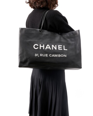 View 5. Thumbnail of Lot 180. Large black leather '31 Rue Cambon' tote bag.