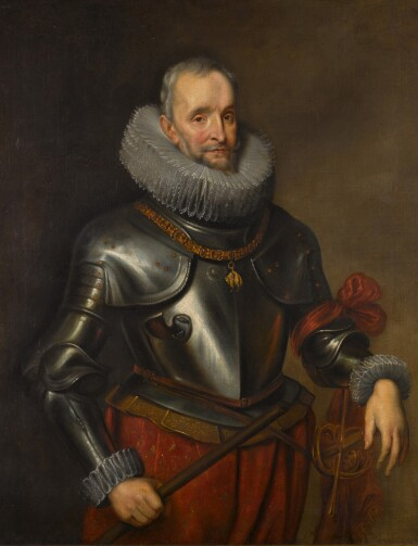 View 1. Thumbnail of Lot 133. Portrait of Ambrogio Spinola, 1st Marquess of Los Balbases (1569-1630), three-quarter length, wearing a breastplate and the collar and badge of the Order of the Golden Fleece, a Field Marshal's baton in his right hand.