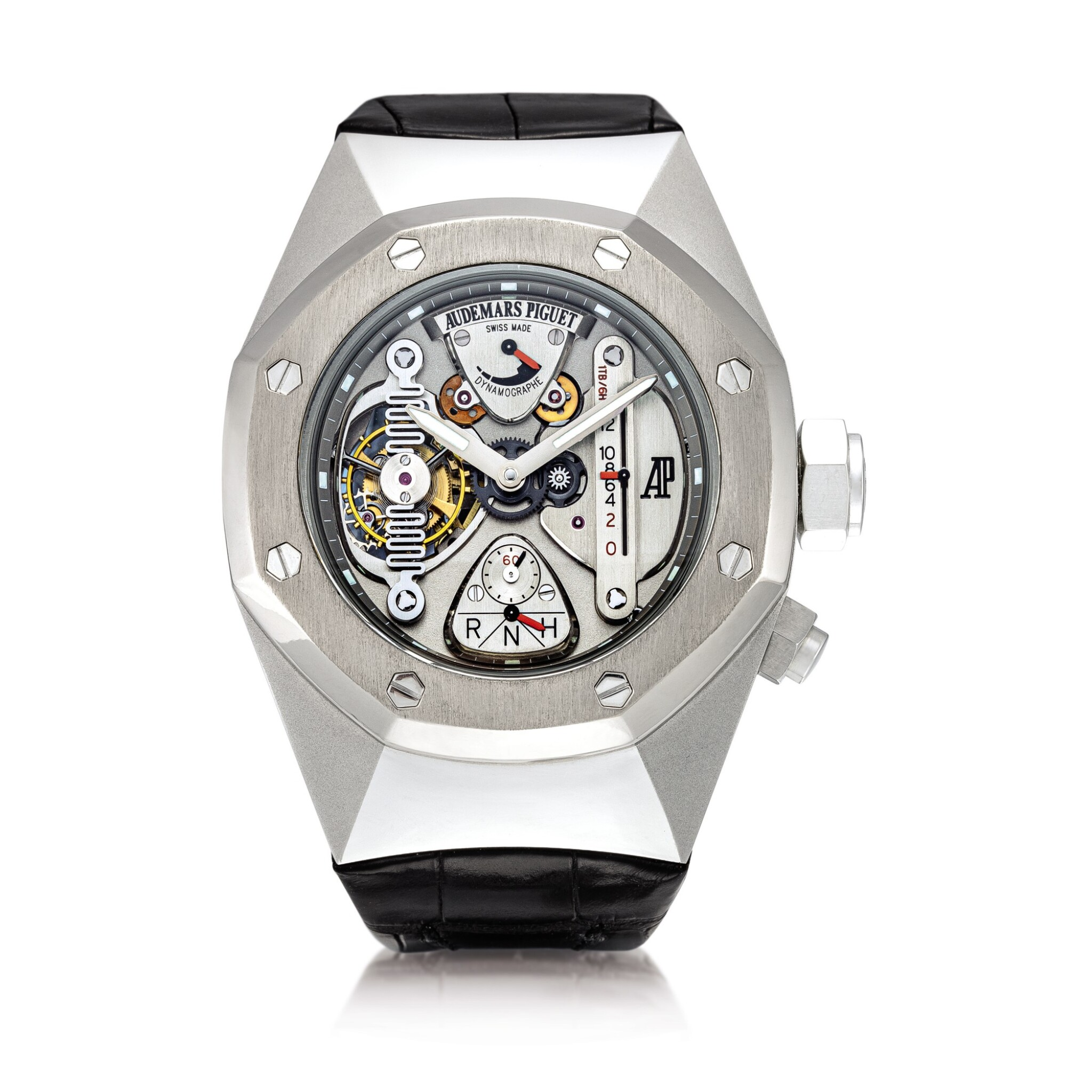 View full screen - View 1 of Lot 2241. Audemars Piguet | Royal Oak Concept, Reference 25980AI.OO.D003SU.01, A limited edition alacrite semi-skeletonised tourbillon wristwatch with dynamographe and power reserve indication, Circa 2005 | 愛彼 | 皇家橡樹概念系列 型號25980AI.OO.D003SU.01  限量版 alacrite 合金半鏤空陀飛輪腕錶,備扭矩力及動力儲備顯示,約2005年製.