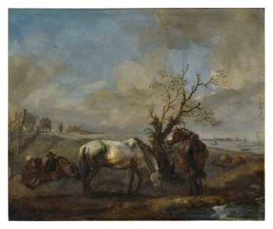 View 1. Thumbnail of Lot 2. PHILIPS WOUWERMAN     TWO HORSES RESTING BY A TREE AND A STREAM, WITH SEATED TRAVELERS NEARBY.