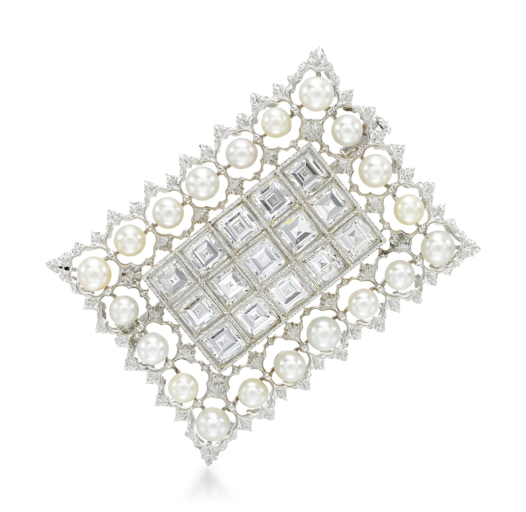 View full screen - View 1 of Lot 258. BUCCELLATI   SEED PEARL AND DIAMOND BROOCH.
