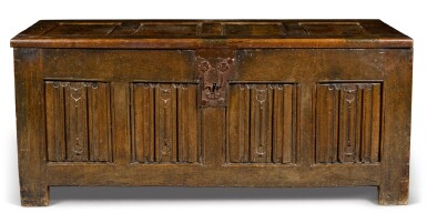 View 1. Thumbnail of Lot 21. An oak panelled chest, Low Countries, 16th century.