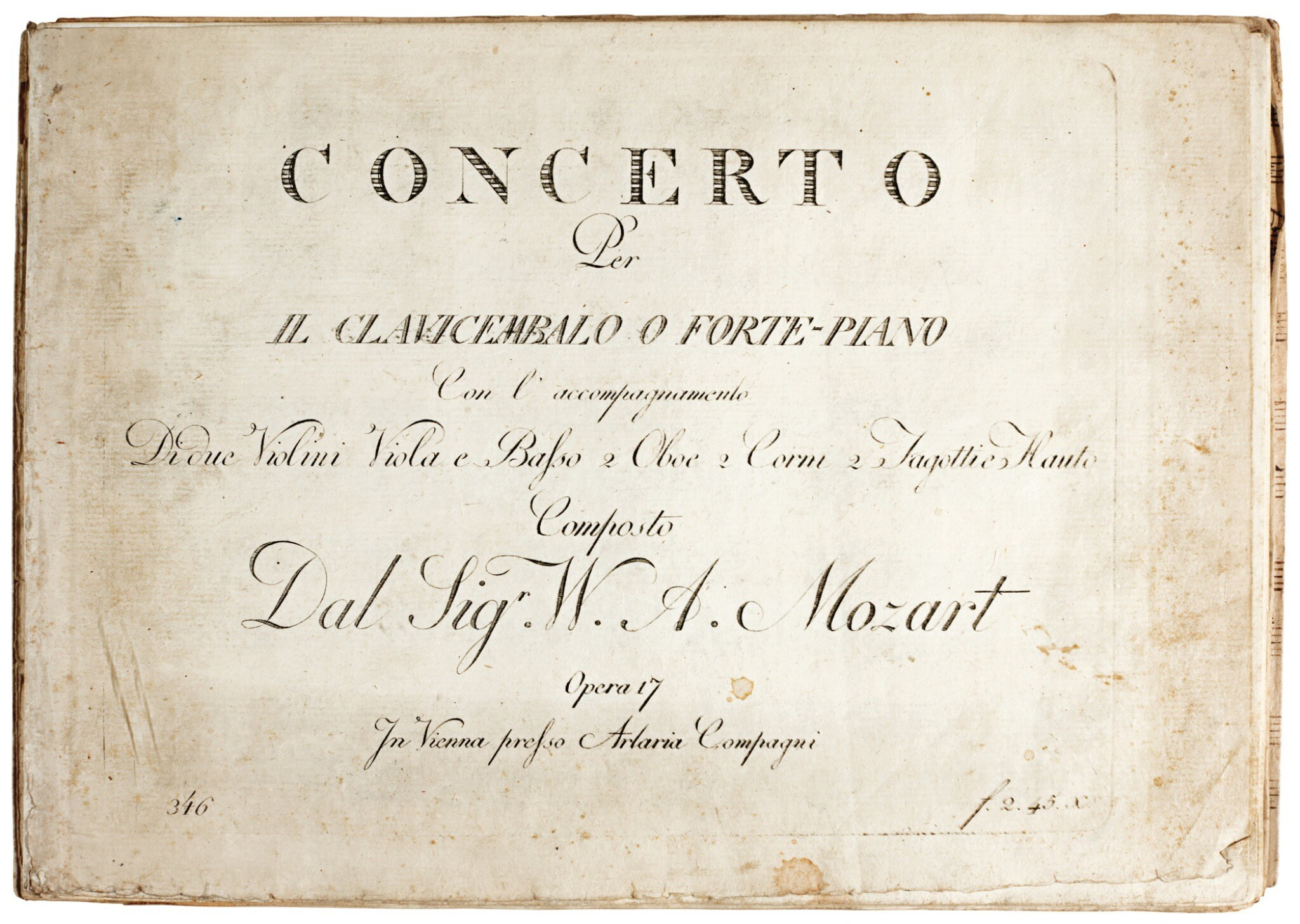 View full screen - View 1 of Lot 62. W. A. Mozart. First edition of the parts of the Piano Concerto in B flat, K. 595, 1791.