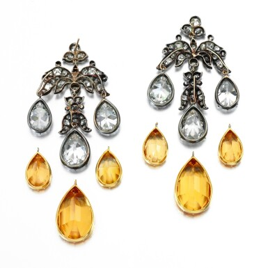 View 3. Thumbnail of Lot 155. PAIR OF TOPAZ AND DIAMOND EARRINGS, MID 19TH CENTURY AND LATER.