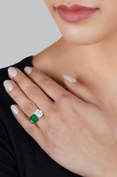 View 2. Thumbnail of Lot 76. Emerald and Diamond Ring.