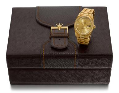 ROLEX |  DAY-DATE, REFERENCE 18038 YELLOW GOLD DIAMOND-SET WRISTWATCH WITH DAY, DATE AND BRACELET, CIRCA 1986