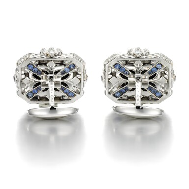 View 2. Thumbnail of Lot 132. James Ganh   Pair of opal triplet and diamond cufflinks.