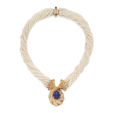 View 1. Thumbnail of Lot 151. Harry Winston | Seed Pearl, Sapphire and Diamond Necklace.